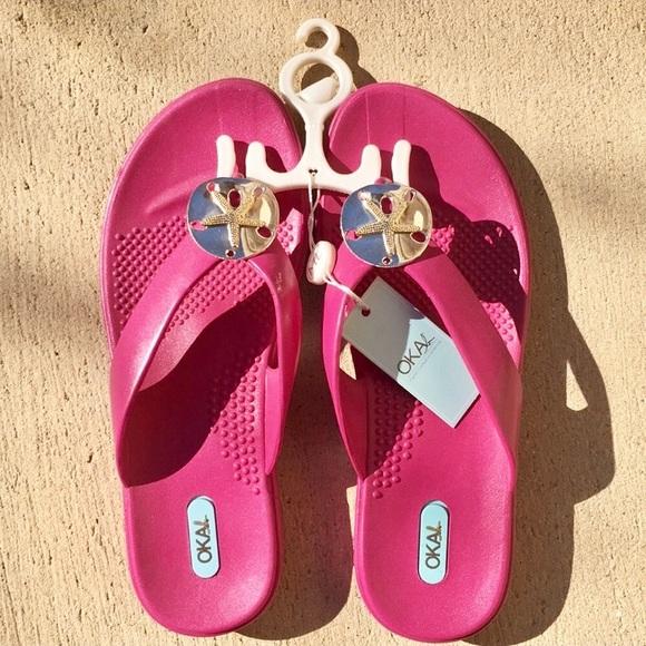 2bff5242ddda8e NWT Oka b Sandy Sandals Fuchsia Size M L